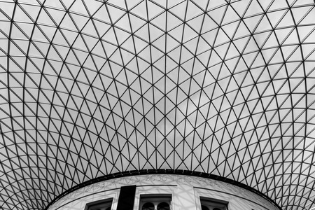 black and white image of a grided roof
